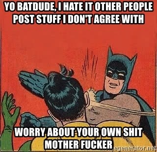 batman slap robin - Yo Batdude, I hate it other people post stuff I don't agree with worry about your own shit mother fucker