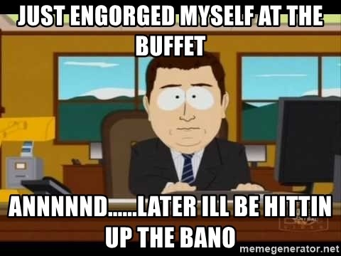 south park aand it's gone - just engorged myself at the buffet annnnnd......later ill be hittin up the bano