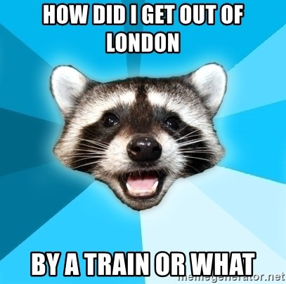 Lame Pun Coon - How did I get out of london By a train or what