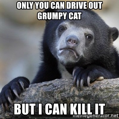 Confession Bear - only you can drive out grumpy cat but I can kill it