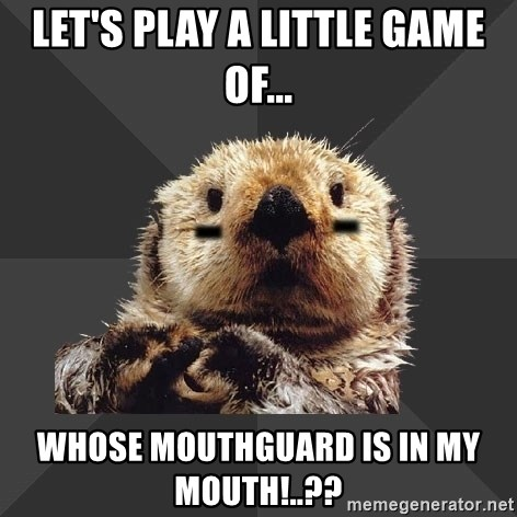 Roller Derby Otter - Let's play a little game of... whose mouthguard is in my mouth!..??