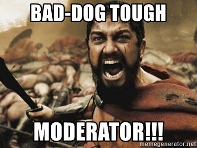 300 - bad-dog tough moderator!!!