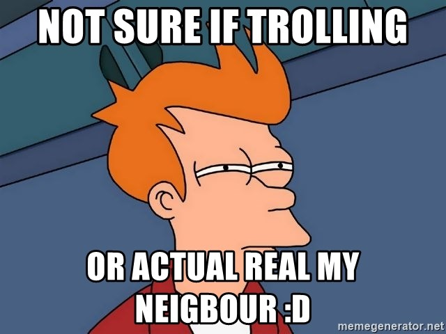 Futurama Fry - not sure if trolling or actual real my neigbour :D