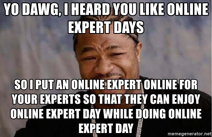 Yo Dawg - yo dawg, I heard you like online expert days so I put an online expert online for your experts so that they can enjoy online expert day while doing online expert day