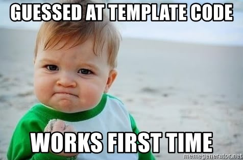 fist pump baby - GUESSED AT Template Code Works First TIme