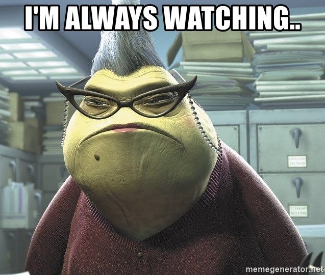 I'm Always watching.. - Roz from Monsters Inc | Meme Generator, Contour