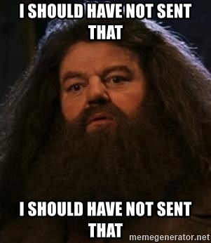 Hagrid what? - I should have not sent that I should have not sent that