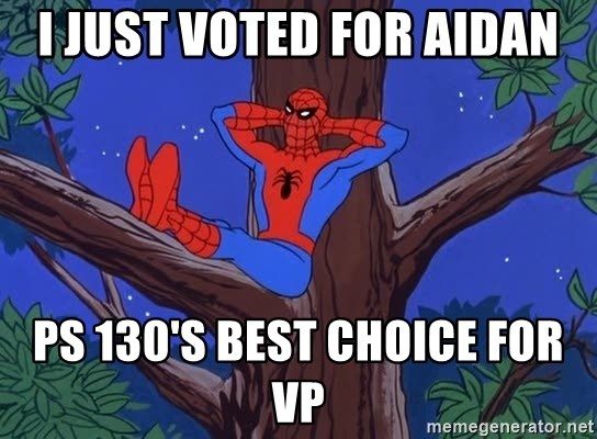 Spiderman Tree - I just Voted for Aidan Ps 130's best choice for VP