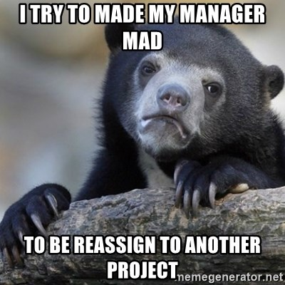 Confession Bear - I try to made my manager mad to be reassign to another project
