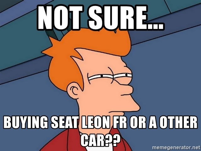 Futurama Fry - Not sure... Buying SEAT Leon FR or a other Car??