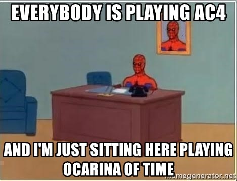 Spiderman Desk - Everybody is playing AC4 And i'm just sitting here playing ocarina of time
