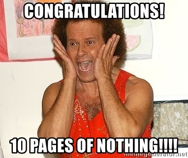 Richard Simmons Screaming - CONGRATULATIONS! 10 pages of NOTHING!!!!