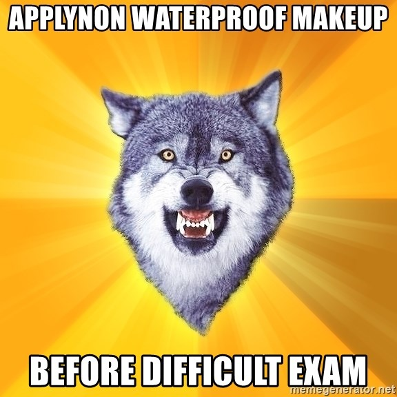 Courage Wolf - applynon waterproof makeup before difficult exam