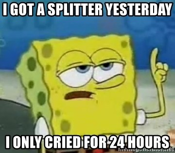 Tough Spongebob - i got a splitter yesterday i only cried for 24 hours