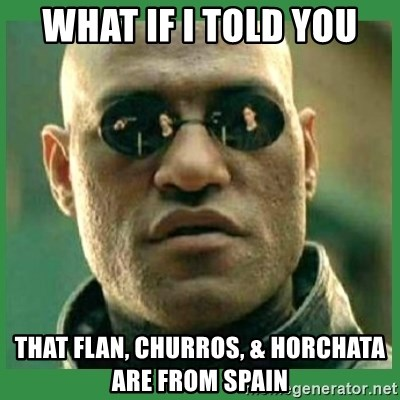 Matrix Morpheus - what if i told you that flan, churros, & horchata are from spain