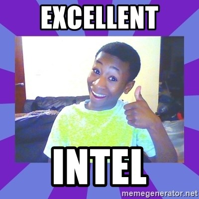 Well Done! - Excellent Intel