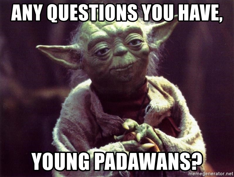Yoda - any questions you have, young padawans?