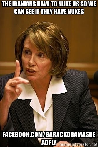 nancy pelosi - the iranians have to nuke us so we can see if they have nukes facebook.com/barackobamasdeadfly