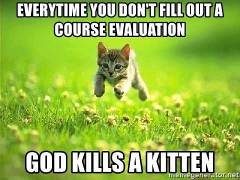 God Kills A Kitten - Everytime you don't fill out a Course evaluation God kills a kitten