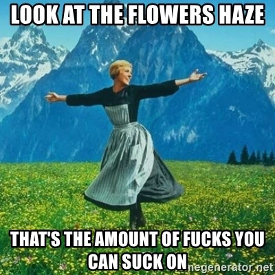 Look at All the Fucks I Give - Look at the flowers haze that's the amount of fucks you can suck on