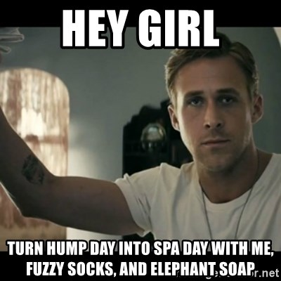 ryan gosling hey girl - Hey girl Turn hump day into spa day with me, fuzzy socks, and elephant soap