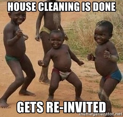 Dancing African Kid - house cleaning is done gets re-invited