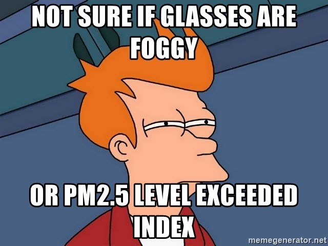 Futurama Fry - NOT SURE IF GLASSES ARE FOGGY OR PM2.5 LEVEL EXCEEDED INDEX