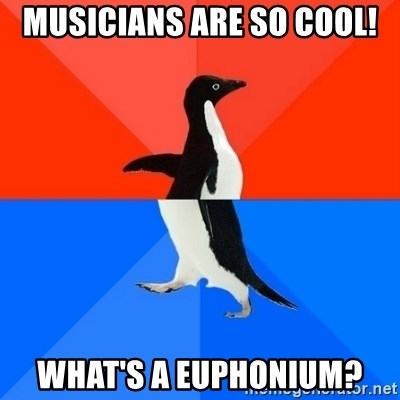Socially Awesome Awkward Penguin - musicians are so cool! what's a euphonium?