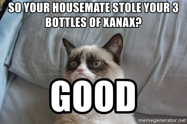 Grumpy cat good - so your housemate stole your 3 bottles of xanax? good