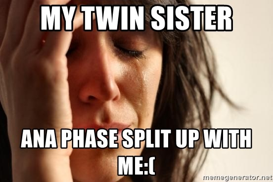 First World Problems - my twin sister ana phase split up with me:(