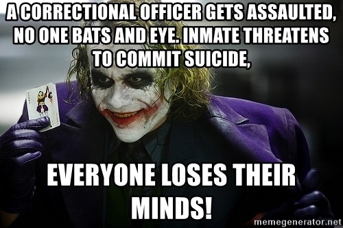 a correctional officer gets assaulted no one bats and eye inmate