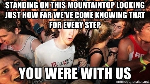 Sudden Realization Ralph - Standing on this mountaintop Looking just how far we've come Knowing that for every step You were with us