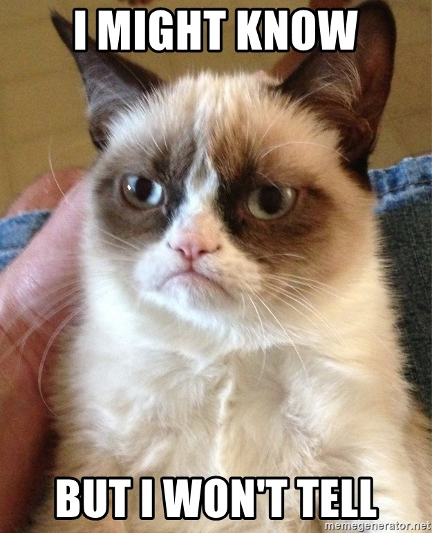Grumpy Cat Face - i might know but i won't tell