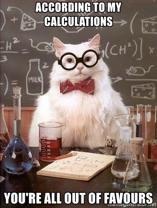 Science Cat - According to my calculations you're all out of favours