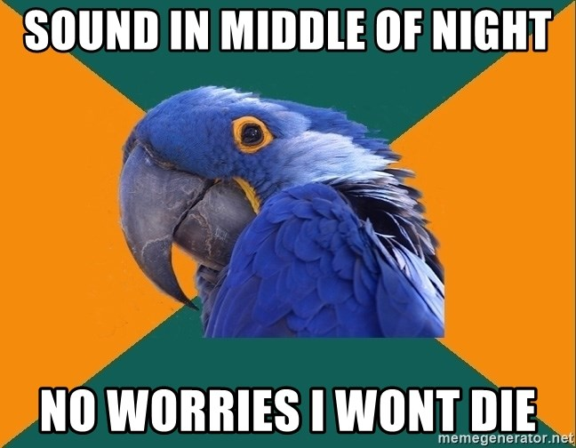 Paranoid Parrot - sound in middle of night no worries i wont die