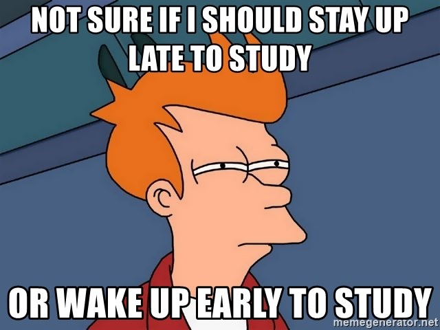 Futurama Fry - not sure if i should stay up late to study or wake up early to study