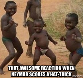 african children dancing -  tHAT AWESOME REACTION WHEN NEYMAR SCORES A HAT-TRICK