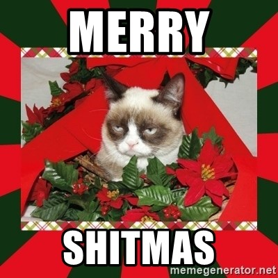 merry shitmas grumpy cat on christmas meme generator - Merry Christmas Meme Generator