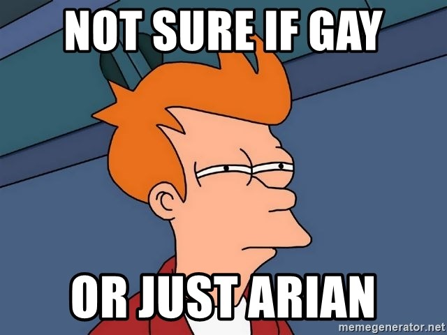 Futurama Fry - not sure if gay or just arian