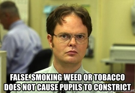 Dwight Schrute -  false. smoking weed or tobacco does not cause pupils to constrict