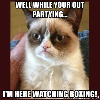 Tard the Grumpy Cat - Well while your out partying... I'm here watching boxing!