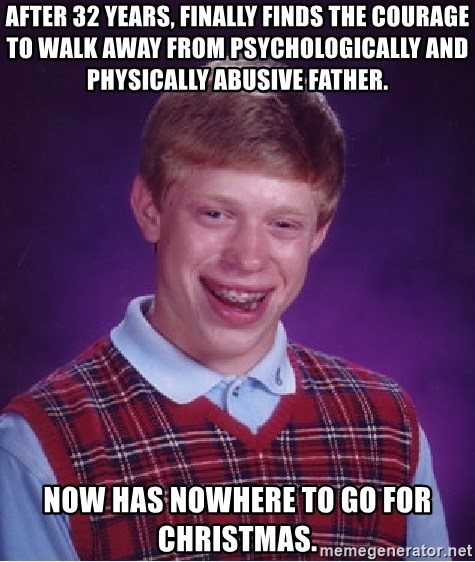Bad Luck Brian - After 32 years, finally finds the courage to walk away from Psychologically and physically abusive father. Now has nowhere to go for Christmas.
