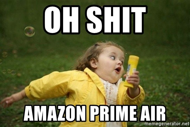 Little girl running away - OH SHIT Amazon Prime Air