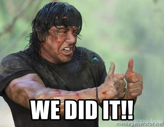 stallone thumbs up - We did it!!