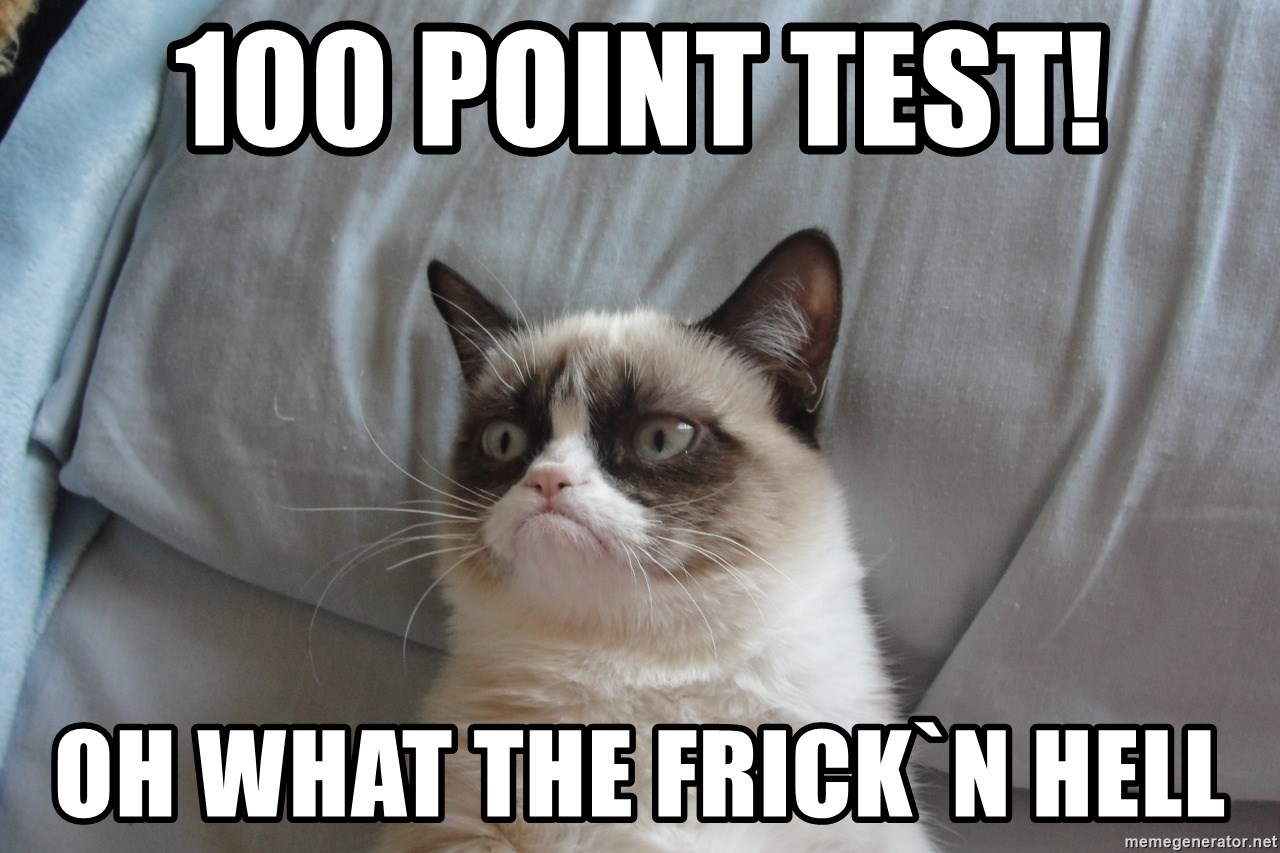 good grumpy cat 2 - 100 point test! Oh what the frick`n hell