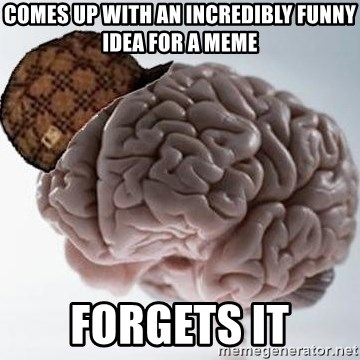Scumbag Brain - comes up with an incredibly funny idea for a meme forgets it