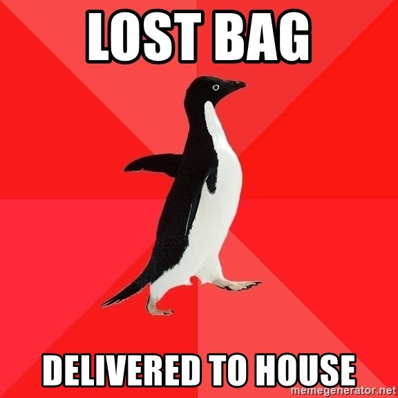 Socially Awesome Penguin - LOST BAG DELIVERED TO HOUSE
