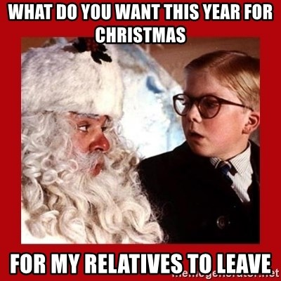 A christmas story - what do you want this year for christmas for my relatives to leave