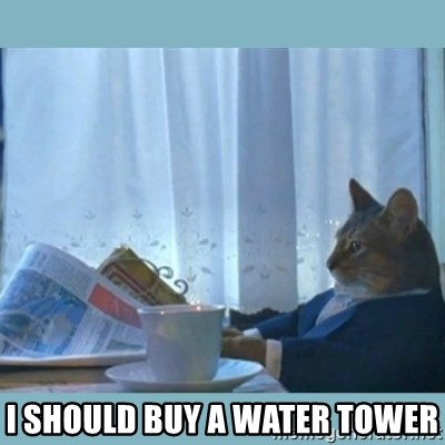 rich cat  - I should buy a water tower