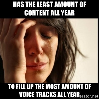 First World Problems - has the least amount of content all year to fill up the most amount of voice tracks all year